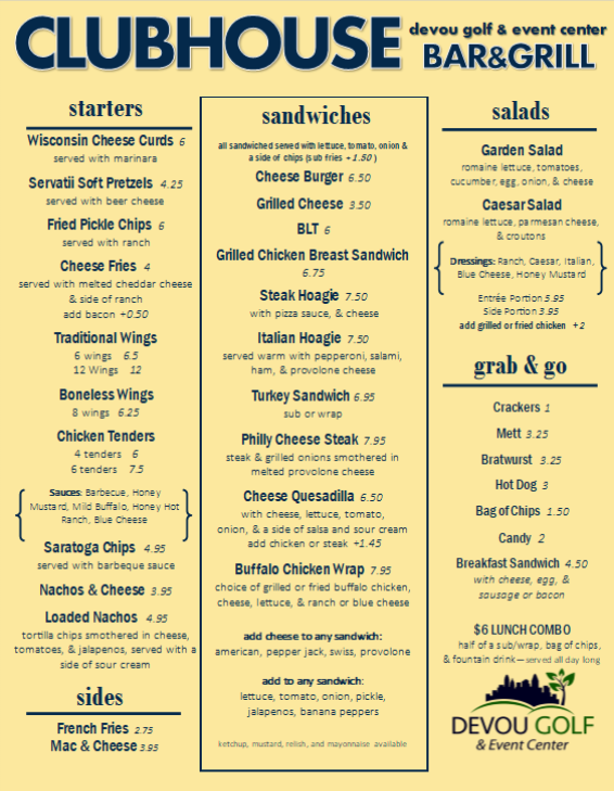 Clubhouse Bar & Grill menu