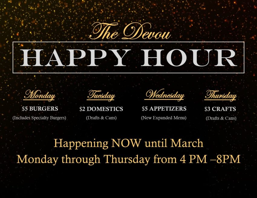 Devou Park Bar & Grill Happy Hour menu
